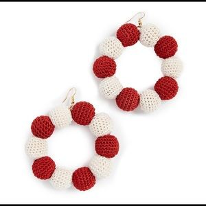 🆕 MISA Crochet Dots Earrings in Red & White